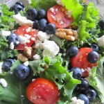 Kale Salad…With Goat cheese, Walnuts, Roma Tomato, and Blueberries