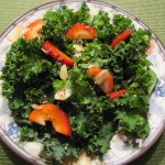 Strawberry Kale Salad with Sliced Almonds…So Healthy and Good!