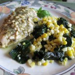 Lime Basil Pesto Chicken with Garlic Butter Kale and Sweet Corn