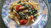 Fresh Roma Tomatoes and Spinach Pasta…With Olive Oil and White Wine
